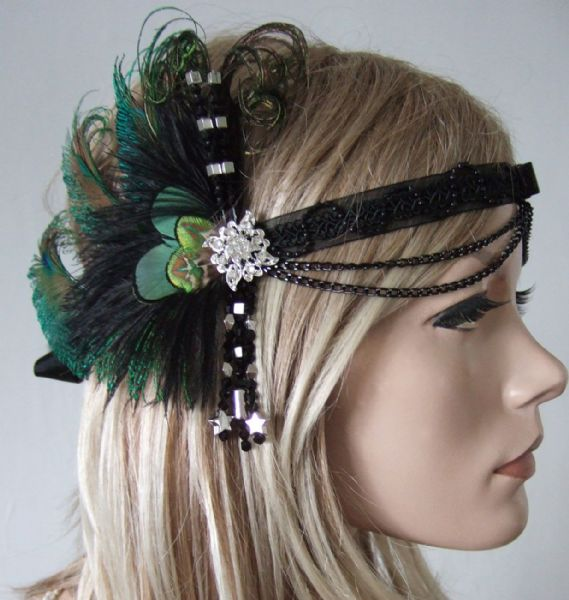 "Black Peacock Feathers Crystal Headband Headpiece 1920's Art Deco Gatsby Flapper ""Era"""